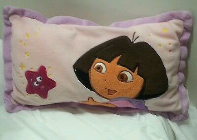DORA THE EXPLORER PILLOW Plush – Pink Decorative Travel Size 15.5'' Across
