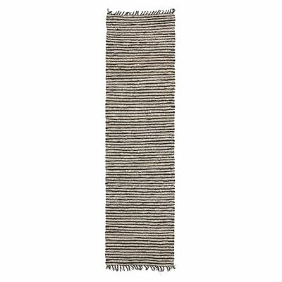 NEW Rug Culture Indra Jute & Leather Runner Rug, Black/White