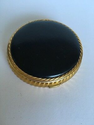 Vintage Unsigned Black Leather & Gold tone Round Powder COMPACT Unused