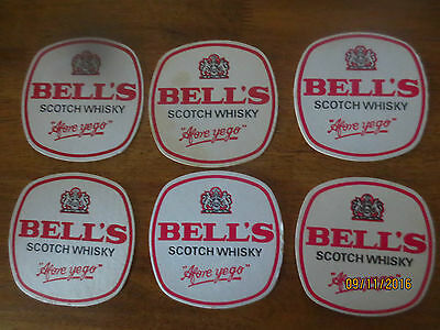 6  X  BELL,S  SCOTCH WHISKY 1980,s Issue collectable COASTERS Thick