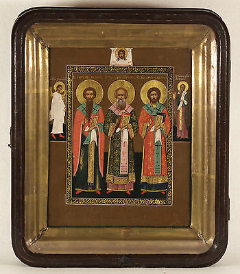 ANTIQUE RUSSIAN ICON OF THREE SAINTS PALEKH SCHOOL KIOT FRAME 19 century