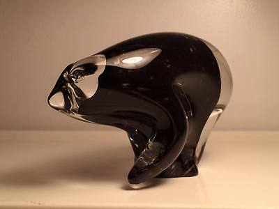 Canadian art glass polar bear paper weight figurine Signed by Jan Phillips
