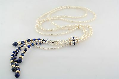 Freshwater Pearl Lapis & 14k Yellow Gold Lariat Style Necklace