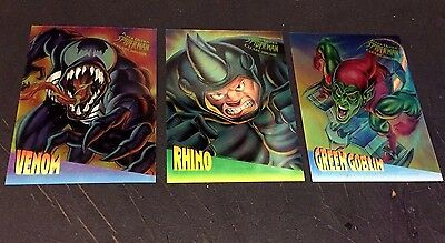 1995 Fleer ULTRA Spider-Man LOT of ( 3 )  CLEARCHROME Chase Inserts Venom Goblin