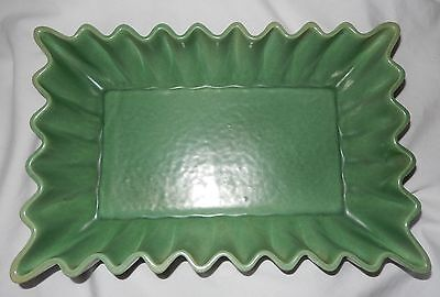 Red Wing USA Pottery Green Rectangle Fluted Dish M-1486