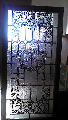 Antique Leaded stained glass window Jeweled & beveled & handcut
