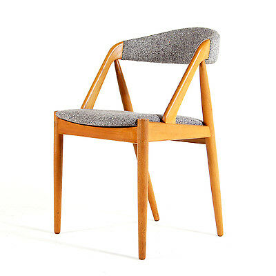 Retro Vintage Kai Kristiansen Danish Oak Wool Desk Side Office Chair 60s 70s