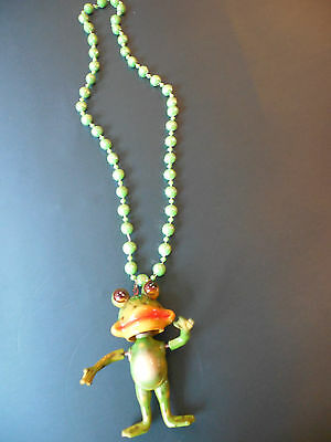 hysterical FROG NECKLACE-neck and arms quiver on springs-fun to wear or give