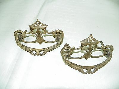 Antique Vintage Brass Door Drawer Door Cabinet Handle Pulls Lot of 2