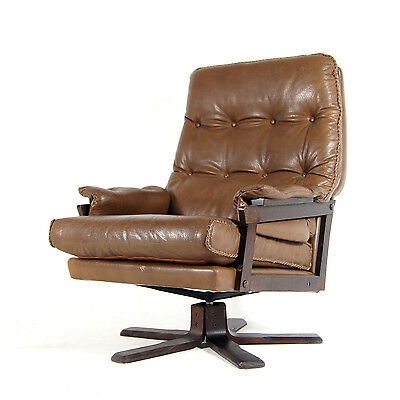 Retro Vintage Danish Rosewood Swivel Base Leather Armchair Lounge Egg Chair 70s
