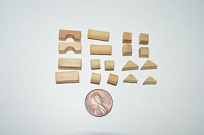 Miniature Stacking Blocks set of 18, natural in 1:12 doll scale