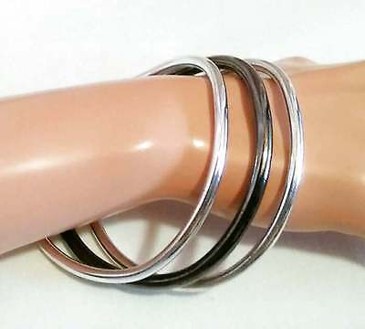 "3 Bronze & Silver Tone Shiny Bangle Bracelets 8"" Very Heavy"