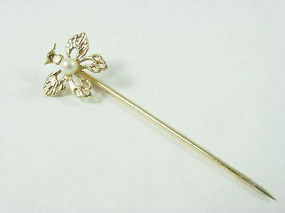 VTG 14K SOLID GOLD ~ BUTTERFLY ~STICK PIN w/PEARL