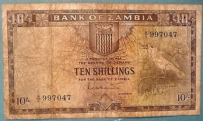 Zambia First Note 10 Shillings  From 1964, P 1