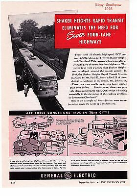 1949 General Electric 'Shaker Heights/Cleveland Rapid Transit' Print Advert
