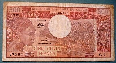 CONGO 500 FRANCS NOTE  ISSUED 01.01.1982,  P 2 d ,