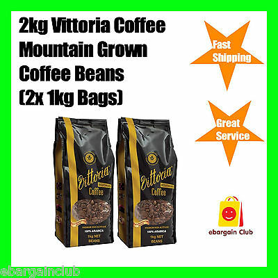 2kg Vittoria Coffee Premium Mountain Grown Coffee Beans 2x1kg Bag