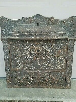 Ornate Complete All Original  Antique Iron Fireplace Surround W/ Hood