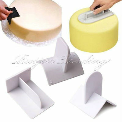 3Pcs CAKE DECORATING SMOOTHER PADDLE ICING FONDANT POLISHER FINISHER SUGARCRAFT