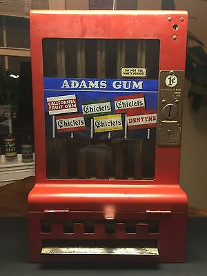 Adam's Gum, Chiclets Gum, 1 Cent Dispensing Machine, With Key, Works, Clean