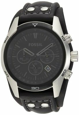 Fossil CH2586 Men's Sports Chronograph Leather Cuff Dial Watch Black