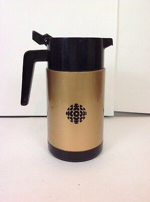 Vintage Cbc Canadian Broadcasting Corp Isolated Water Pitcher 80's Golden Brown
