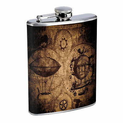 Steampunk Map 01R 8oz Stainless Steel Flask Drinking Whiskey