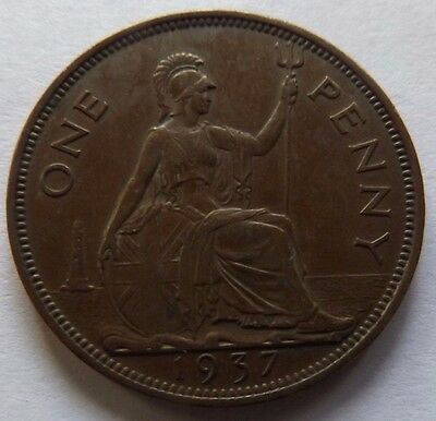1937 Great Britain Large Penny! Very High Grade! Great Details!