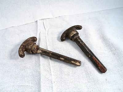 Vintage Pair Old Door Lock Thumb Knobs with Square Threaded Shafts (AQ.188)