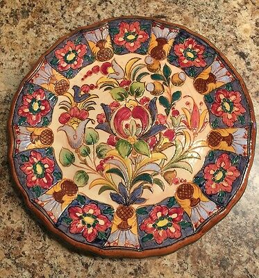 Highly Decorated Pottery Plate Glazed Colorful Pattern Unique Vintage Red Blue