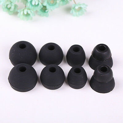 16Pcs Double Layer Silicone In Ear Tips Gel Cover Earbuds Eartips White+Black