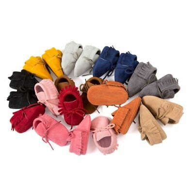 0-18M Infants Boys Girls Tassel Laces Shoes Soft Soled Crib PU Moccasin Sneakers