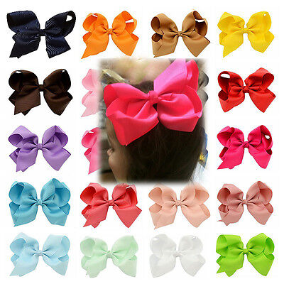 6 inch Girls Large Boutique BowKnot Grosgrain Ribbon Hair Bow Alligator Clip