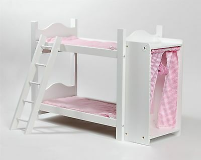 Cinderella USA Doll Bunk Bed With Ladder And Storage Armoire