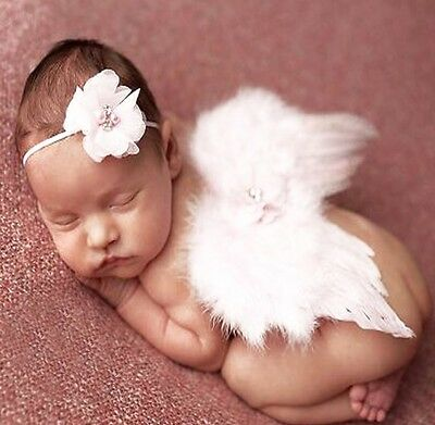 Newborn Infant Baby Feather Angel Wings & Headband White Photography Props NEW