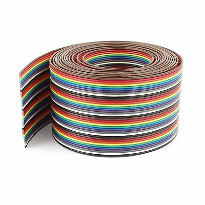 09S8 10ft 40 Way 40-Pin Rainbow Color IDC Flat Ribbon Cable 1.27mm Pitch