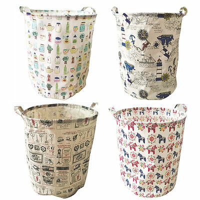 Foldable Large Cotton Linen Canvas Hamper Laundry Basket Storage Bucket 4 Colors