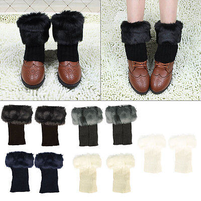 Hot Fashion Womens Crochet Knit Fur Trim Leg Warmers Cuffs Toppers Boot Socks