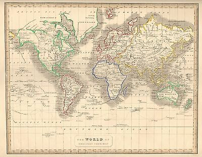 1848 Ca ANTIQUE  MAP-H/COL- WORLD ON MERCATOR'S PROJECTION