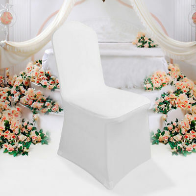 100pc White Flat Front Covers Spandex Lycra Chair Covers Wedding Party For Sale