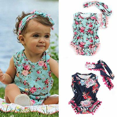 Newborn Baby Girls Bodysuit Floral Romper Jumpsuit Outfits Sunsuit Clothes Set