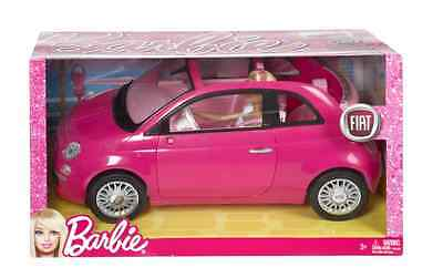 BARBIE FIAT 500cc VEHICLE PINK CAR WITH DOLL NEW!!