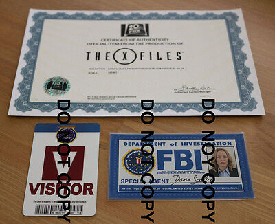The Xfiles Dana Scully Gillian Anderson Production Used Fbi Id & Visitor Id