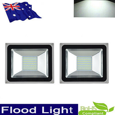 2x 100W High Power LED Flood Light Cool White IP65 Outdoor Work Wall Lamp 240V