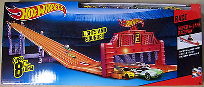 Mattel Hot Wheels Super 6 Lane Raceway 8 Foot Track with 6 Cars VHTF SOLD OUT!!!