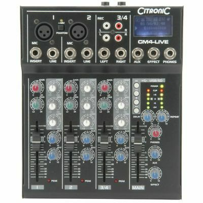 Citronic CM4 Live Compact Mixer With Delay & USB SD Player
