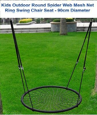Kids Outdoor Play Area Spider Web Shape Mesh Net Ring Round Swing Chair Seat