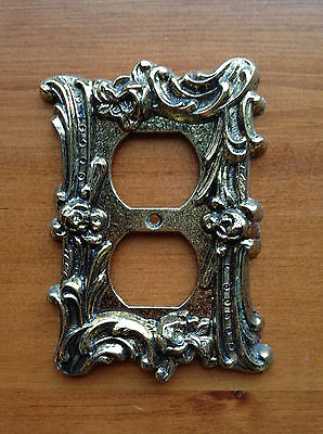 Vintage Brass Fancy Floral Outlet Cover Plate