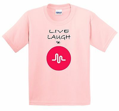 Musical.ly Live Laugh  100% cotton pink T shirt youth size XS S M L XL T-616