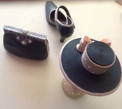 Miniature shoe, handbag and hat with stand set 4 items
